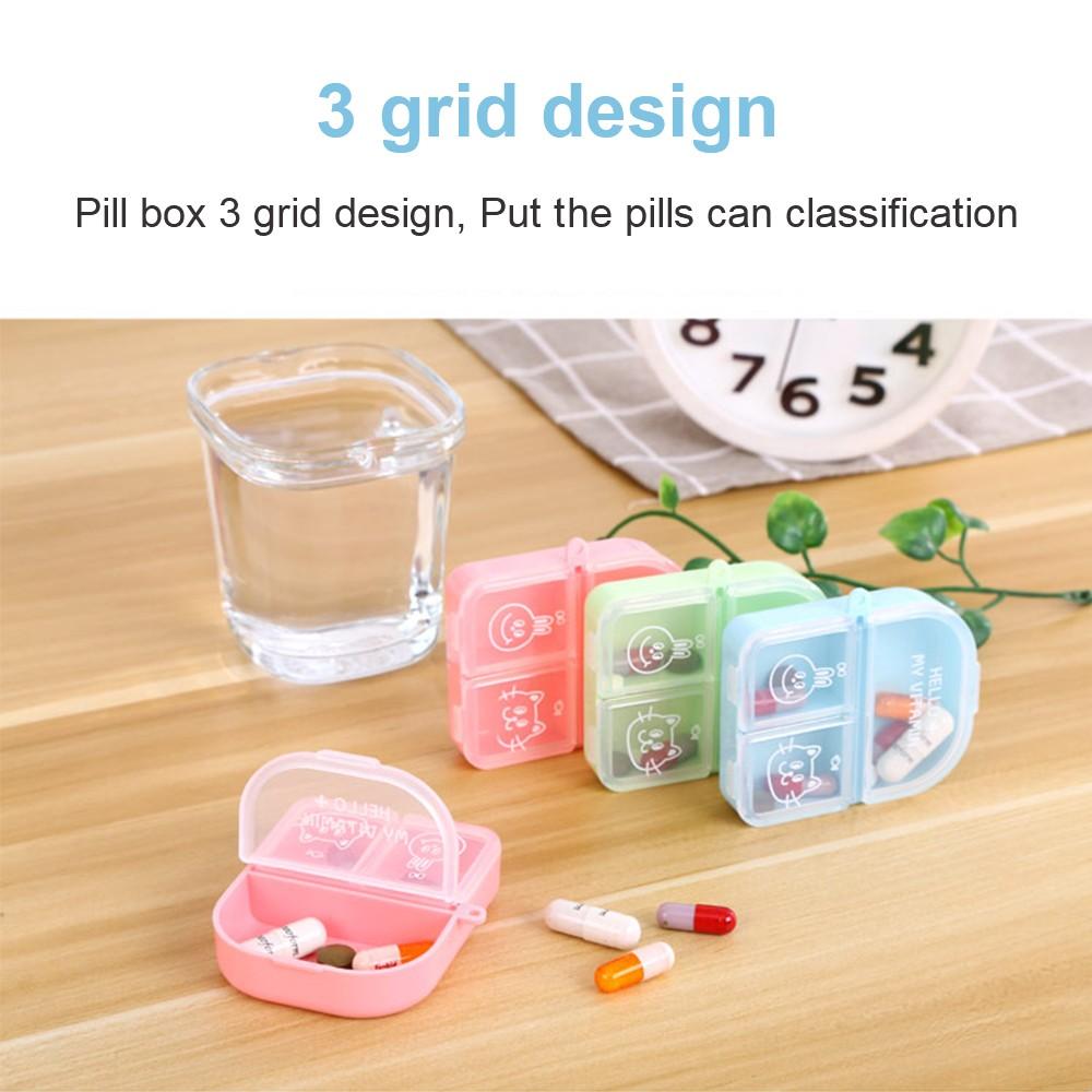 Cute Travel Pill Box for Women, Mini Portable 3 Slots Pill Organizer for Pocket Or Purse 4