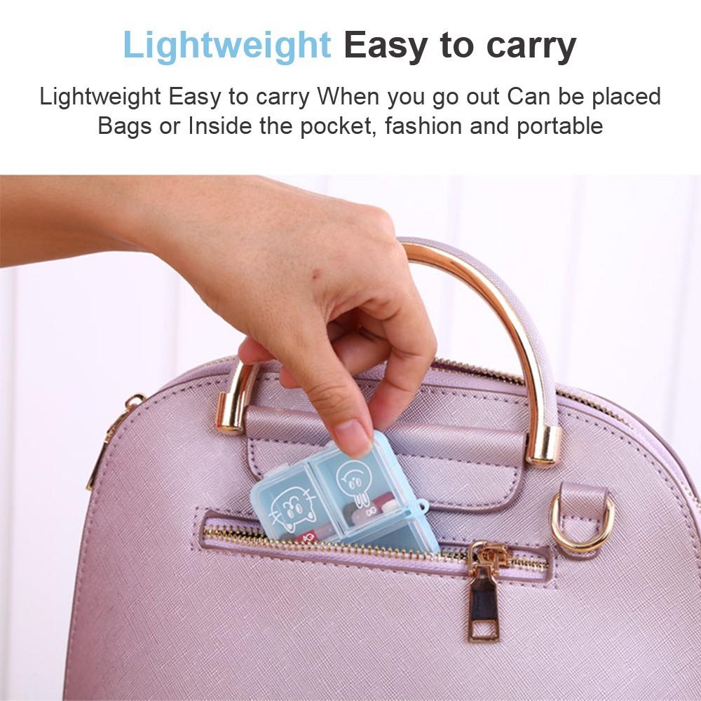Cute Travel Pill Box for Women, Mini Portable 3 Slots Pill Organizer for Pocket Or Purse 9