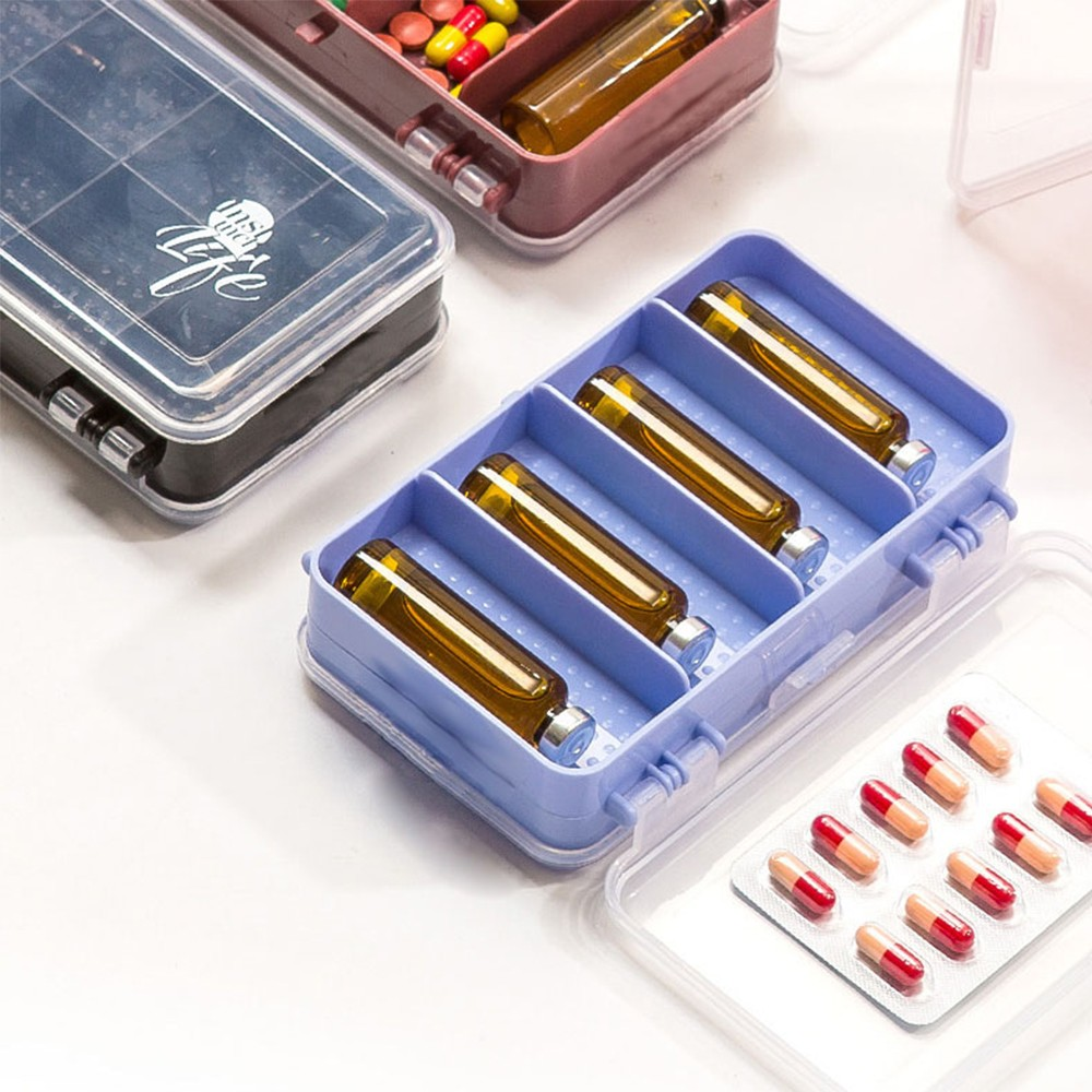 Double-Sided Pill Case with 10 Compartments, Portable Medication Organizer Holder for Daily or Travel Use 7
