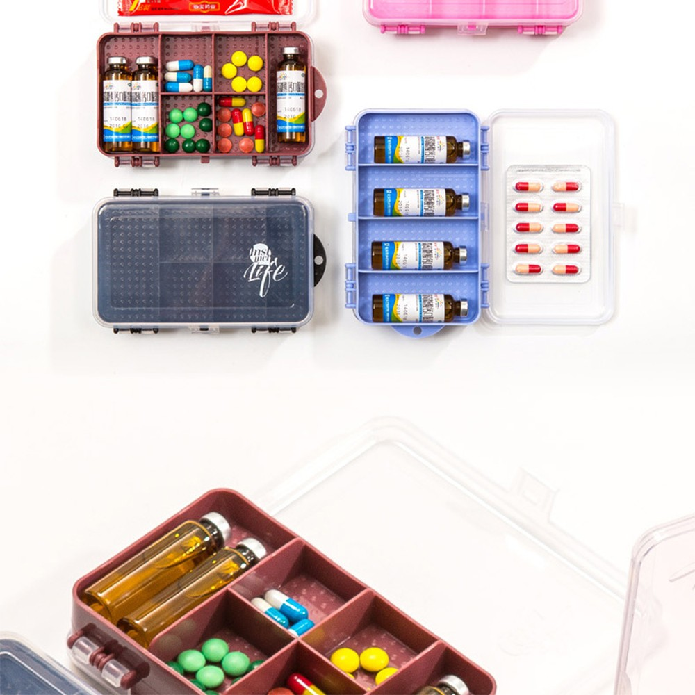 Double-Sided Pill Case with 10 Compartments, Portable Medication Organizer Holder for Daily or Travel Use 10