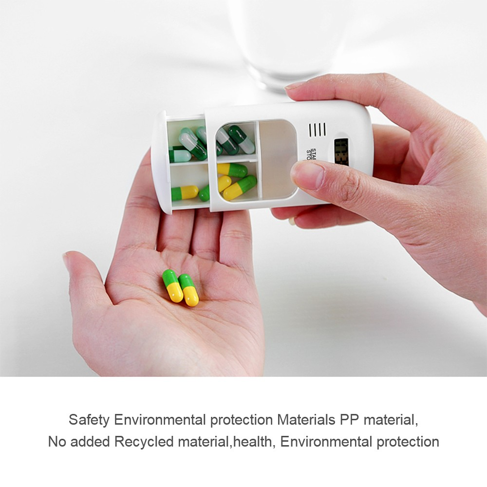 Portable Daily Pill Case with Alarm Reminder, Elderly Pills Tablet Holder Organizer for Medicine Vitamins Supplements 7