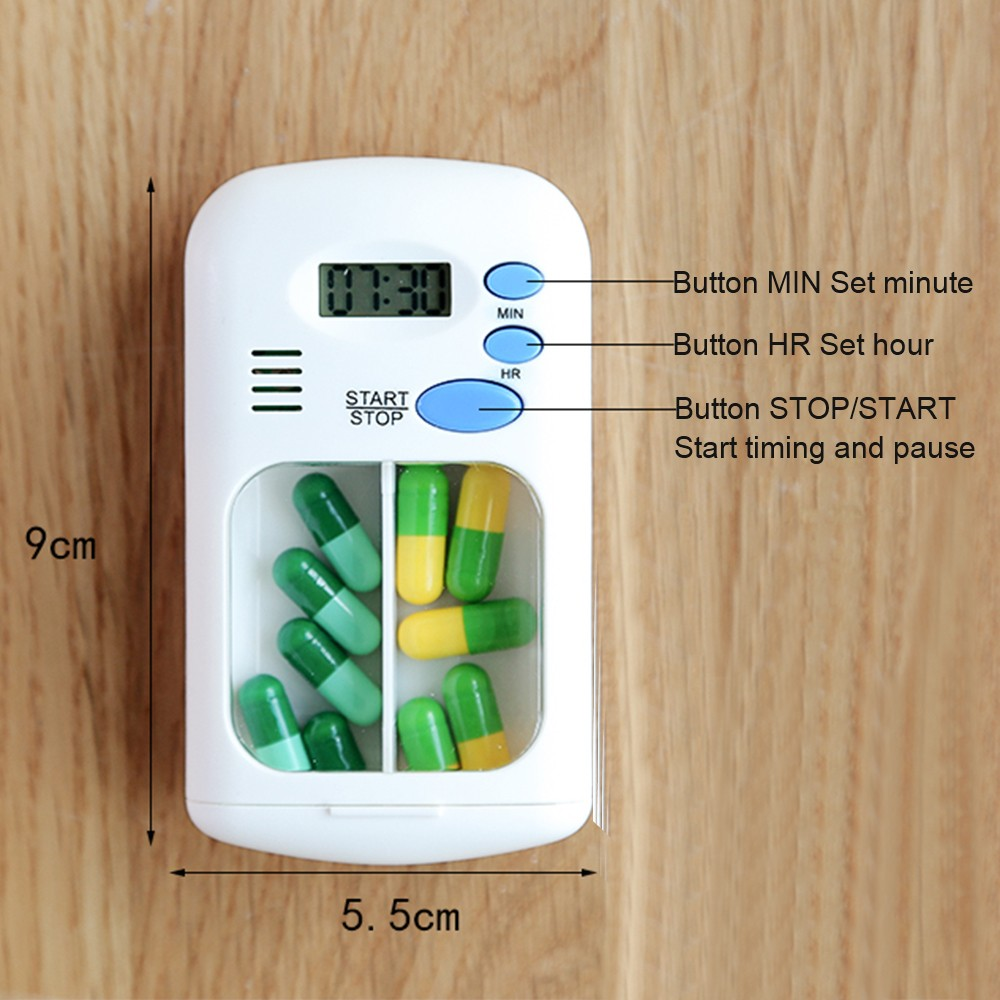 Portable Daily Pill Case with Alarm Reminder, Elderly Pills Tablet Holder Organizer for Medicine Vitamins Supplements 9