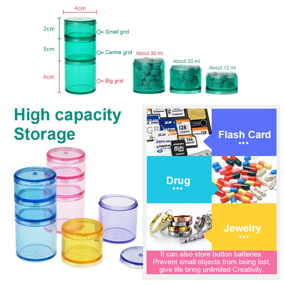 Weekly Stackable Pill Case, 7 Day Stackable Pill Planner For Daily or Travel Use 9