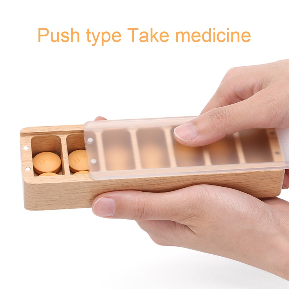 Wooden Weekly Pill Container, 7-Compartment Clear Pill Case for Medications Supplements and Vitamins 3