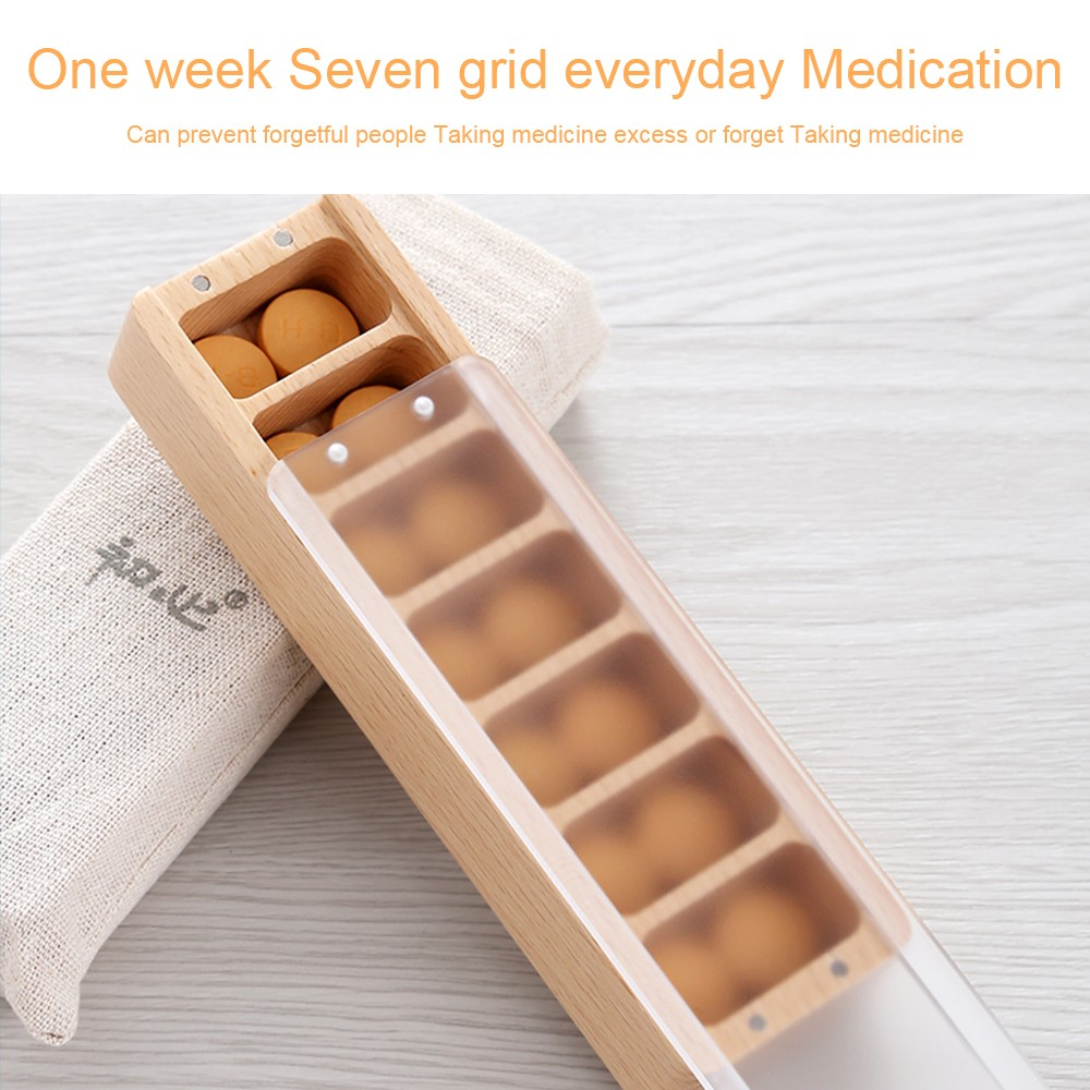 Wooden Weekly Pill Container, 7-Compartment Clear Pill Case for Medications Supplements and Vitamins 9
