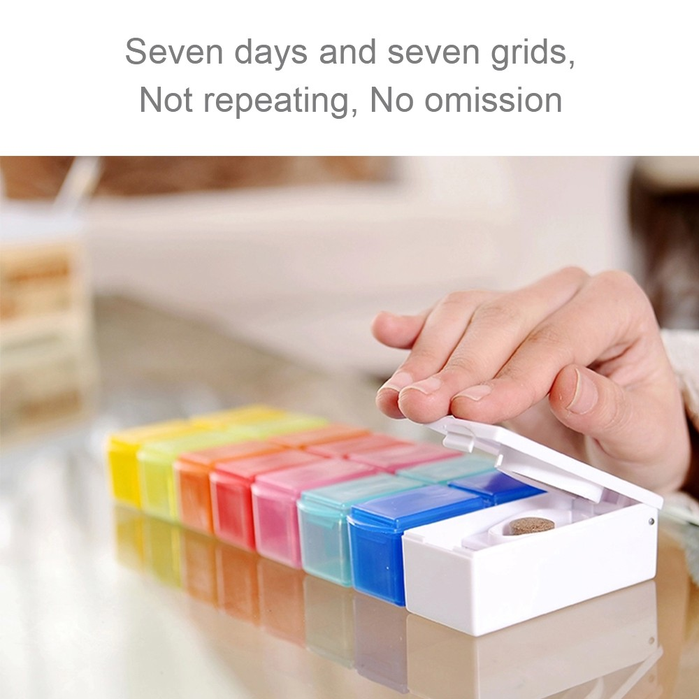 7 Day Travel Pill Box Bonus 1 Pill Cutter, Large Compartments to Hold Vitamins, Fish Oil, Supplements and Medication 7