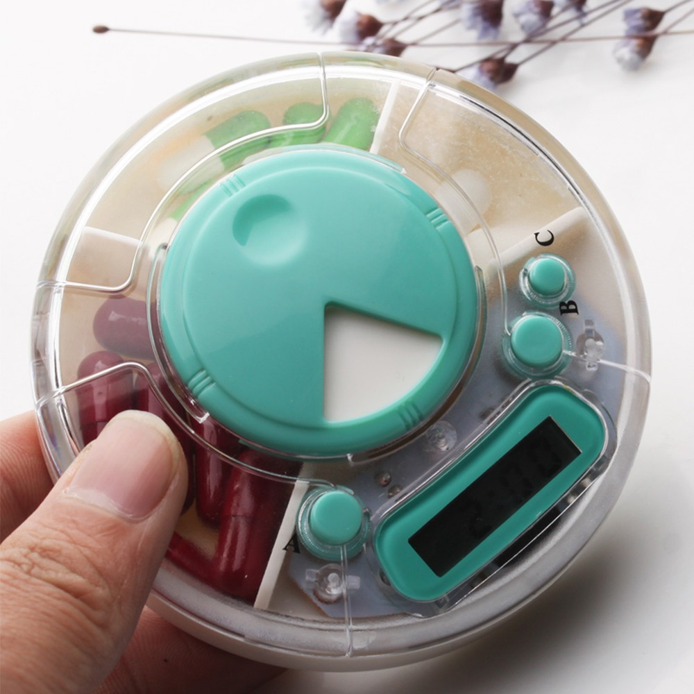 Rotating Pill Dispenser with Timer Alarm Clock Reminder, 7 Days Electronic Medication Organizer for Patients or Carers 5