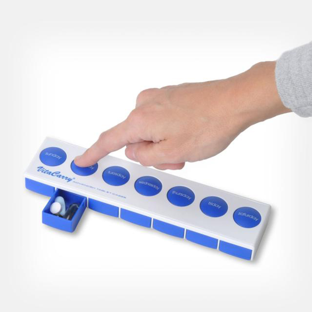 Push Button Pill Case with Safety Lock