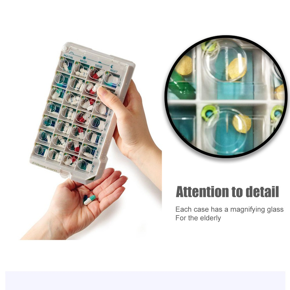 7 Days Weekly Pill Case with 28 Slots, Senior Medicine Storage Tablet Holder for Elderly 5