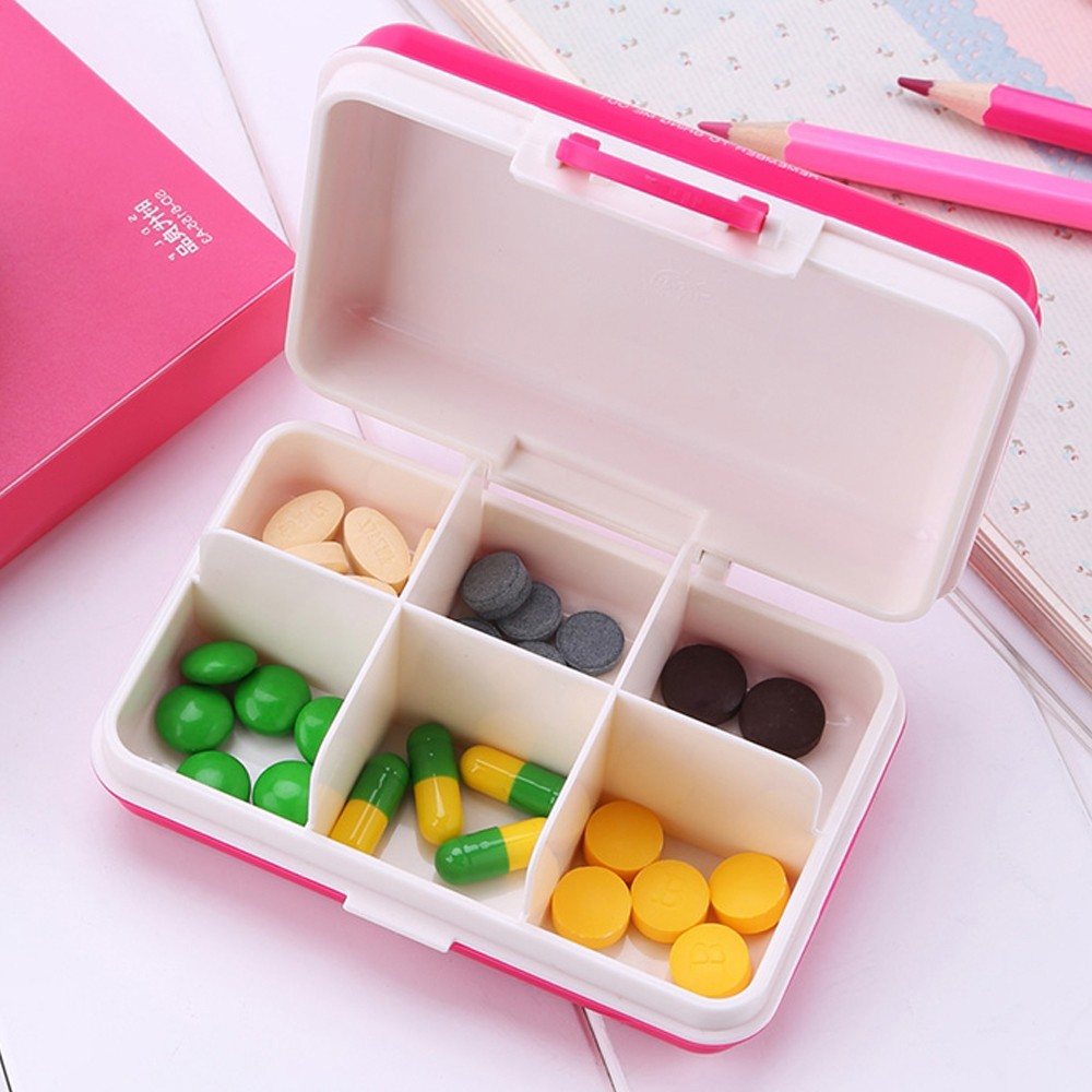 Mini suitcase shaped pill box with  6 compartments, multi function weekly travel pill case  for pocket and purse 4
