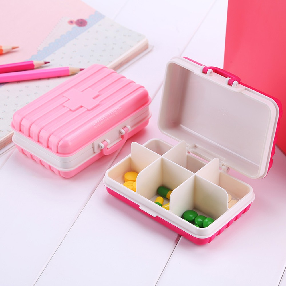 Mini suitcase shaped pill box with  6 compartments, multi function weekly travel pill case  for pocket and purse 6