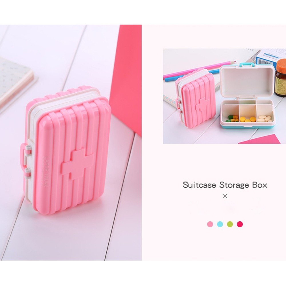 Mini suitcase shaped pill box with  6 compartments, multi function weekly travel pill case  for pocket and purse 5