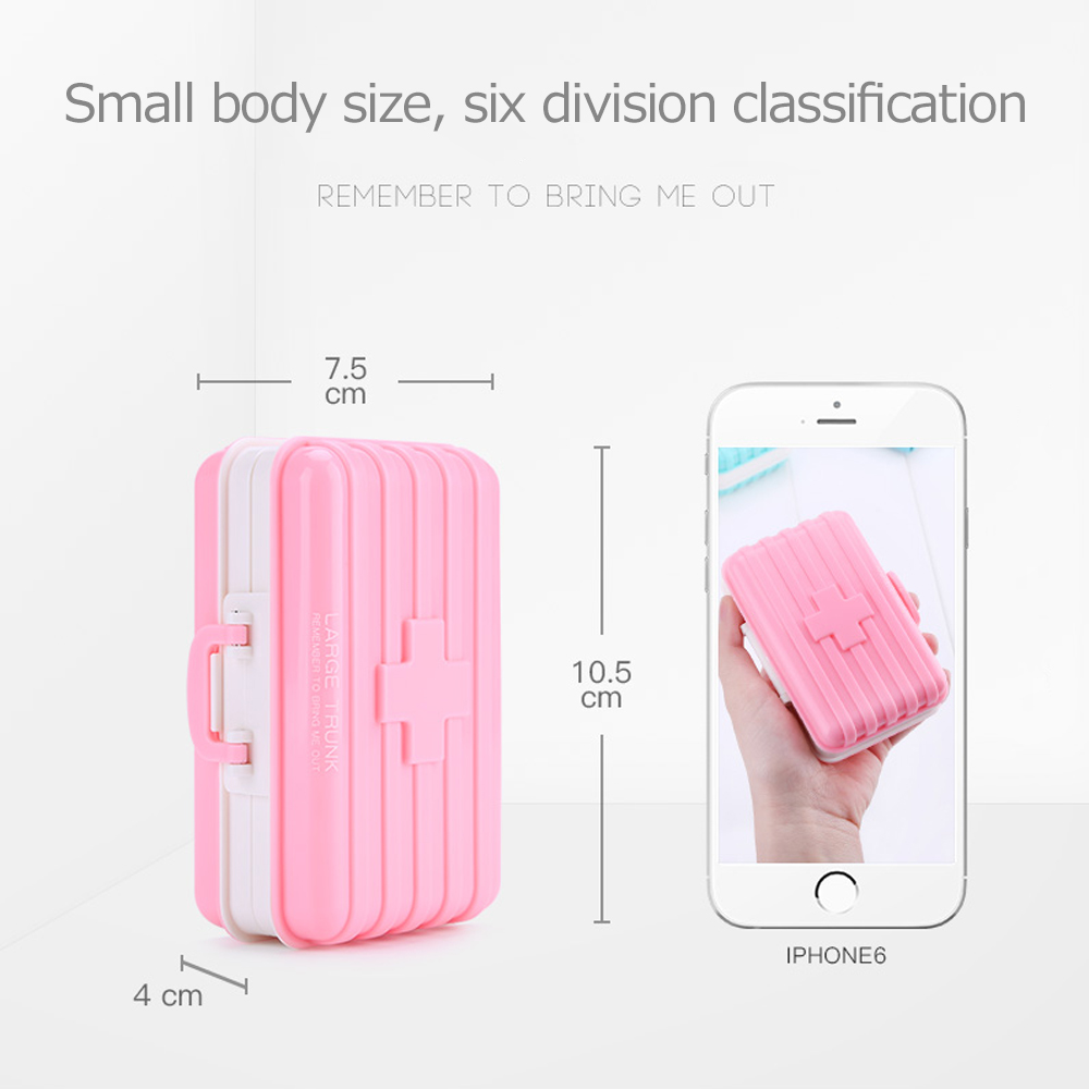 Mini suitcase shaped pill box with  6 compartments, multi function weekly travel pill case  for pocket and purse 7