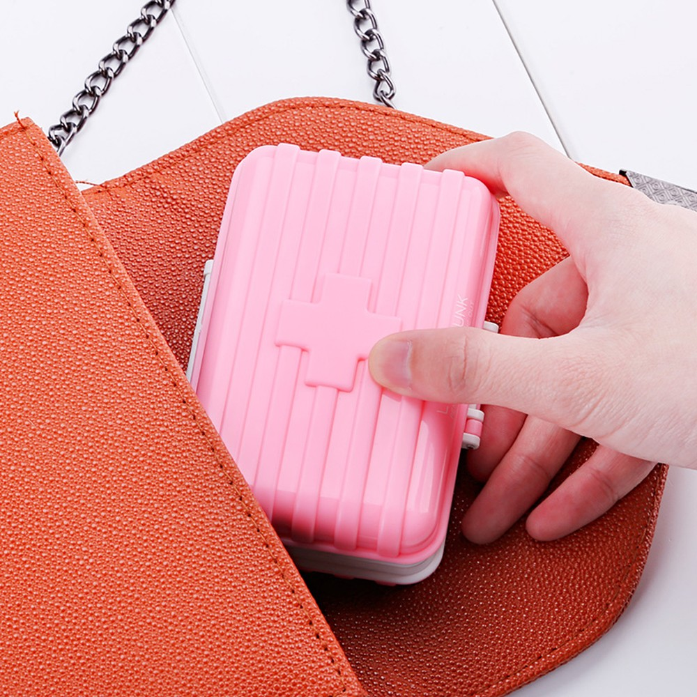 Mini suitcase shaped pill box with  6 compartments, multi function weekly travel pill case  for pocket and purse 8