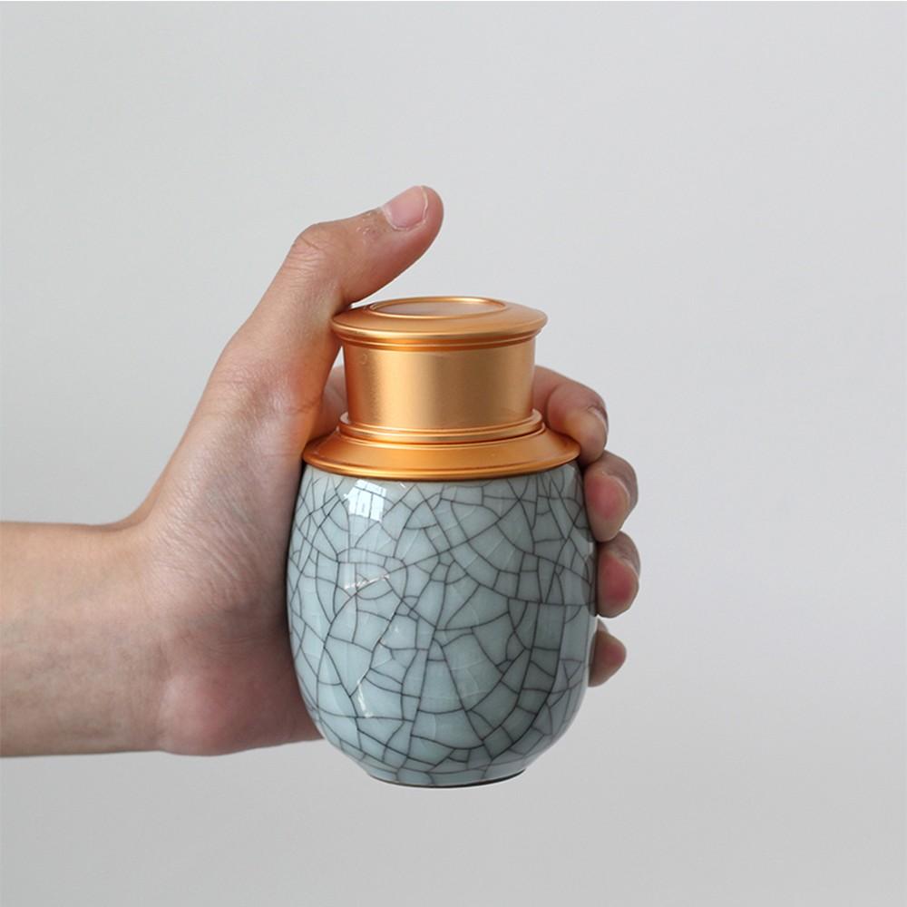 Elegant Ceramic Pill Storage Jar with cuprum Lid, Airtight storage Container for Matcha Tea, Caddy, Pills, medicine Powder 5