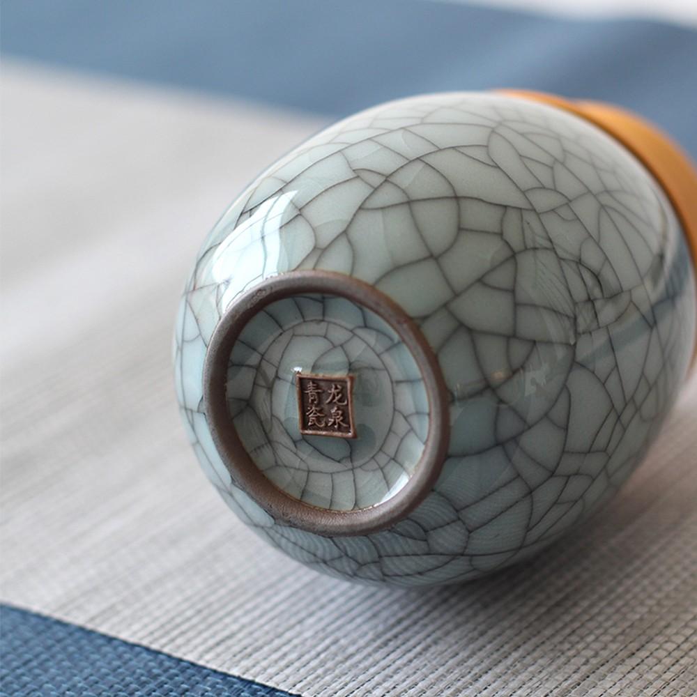 Elegant Ceramic Pill Storage Jar with cuprum Lid, Airtight storage Container for Matcha Tea, Caddy, Pills, medicine Powder 3
