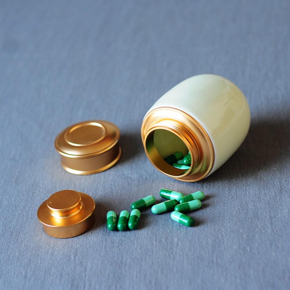 Elegant Ceramic Pill Storage Jar with cuprum Lid, Airtight storage Container for Matcha Tea, Caddy, Pills, medicine Powder 6