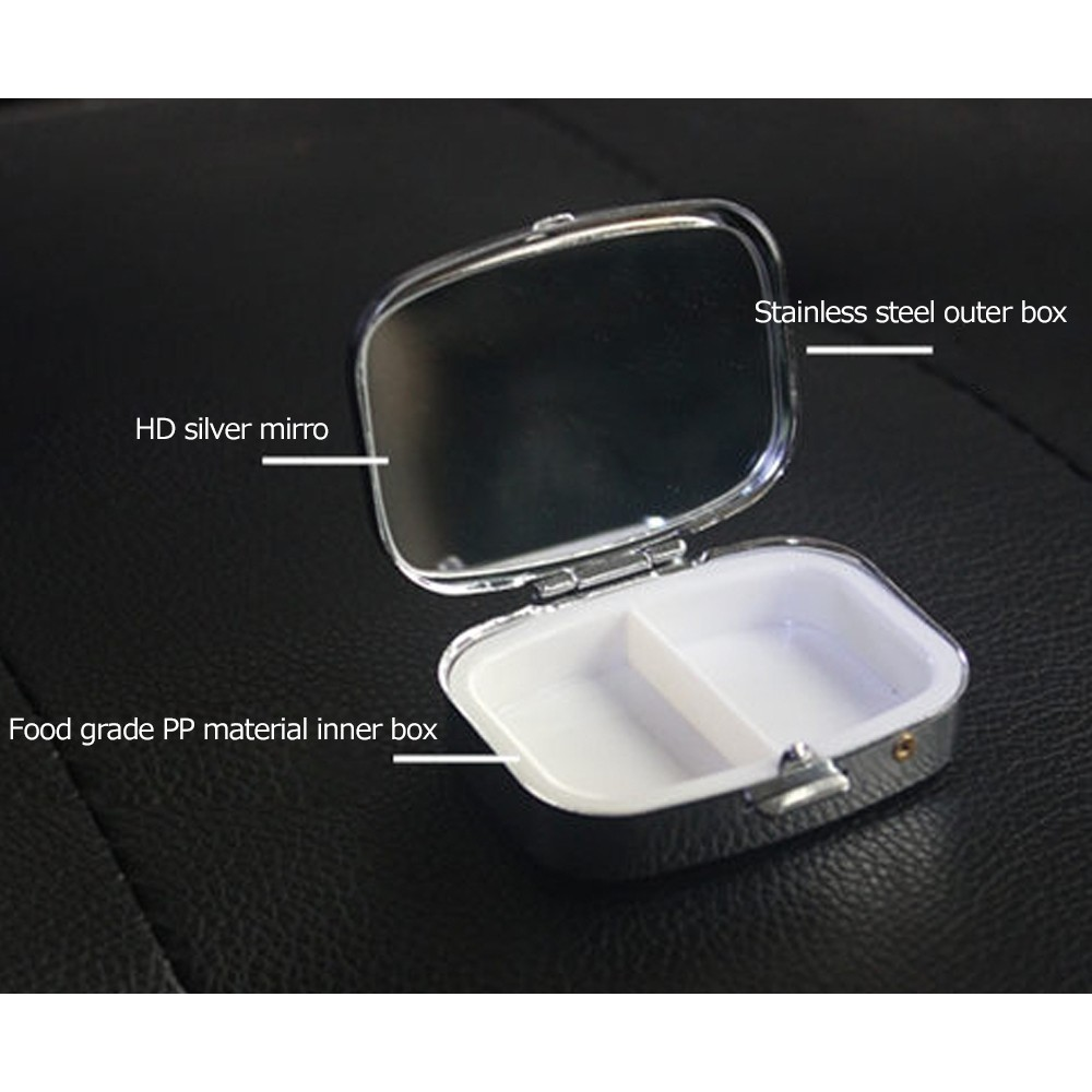 Travel Portable Stainless Steel Pill Box with Mirror and 2 Plastic Grid for Daily Use 4