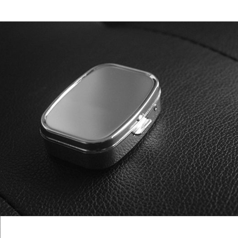Travel Portable Stainless Steel Pill Box with Mirror and 2 Plastic Grid for Daily Use 5