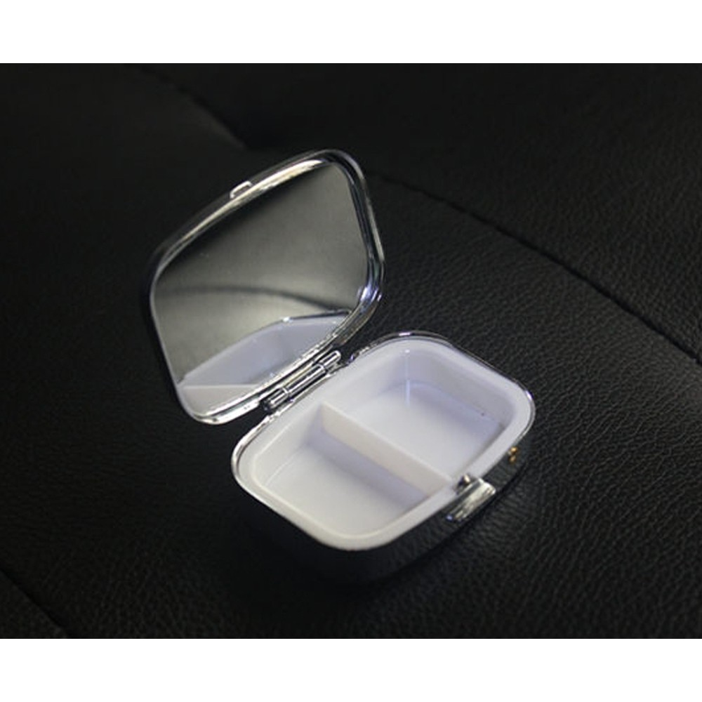 Travel Portable Stainless Steel Pill Box with Mirror and 2 Plastic Grid for Daily Use 8