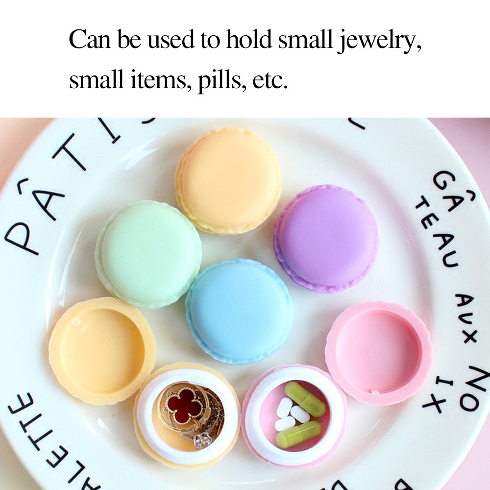Cute Macaron Shape Mini Pill Case, Colorful Storage Container for Candy, Jewelry, Pills (5 pcs) 6
