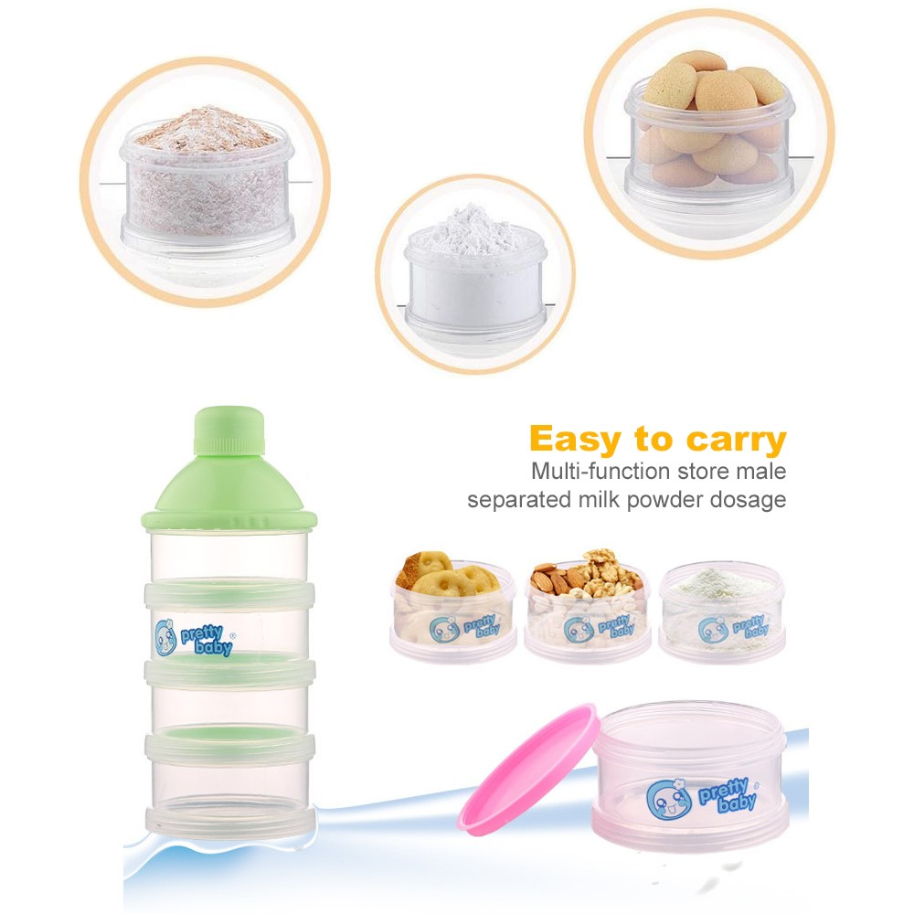 Non-spill Baby Feeding milk Powder Dispenser, Babies BPA Free Travel Storage Container with Stackable 4 Layers 3
