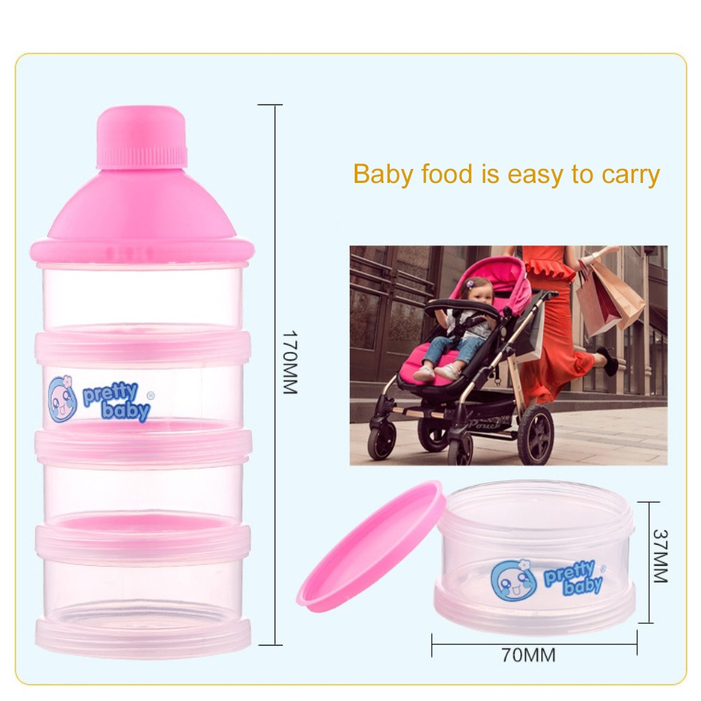 Non-spill Baby Feeding milk Powder Dispenser, Babies BPA Free Travel Storage Container with Stackable 4 Layers 4