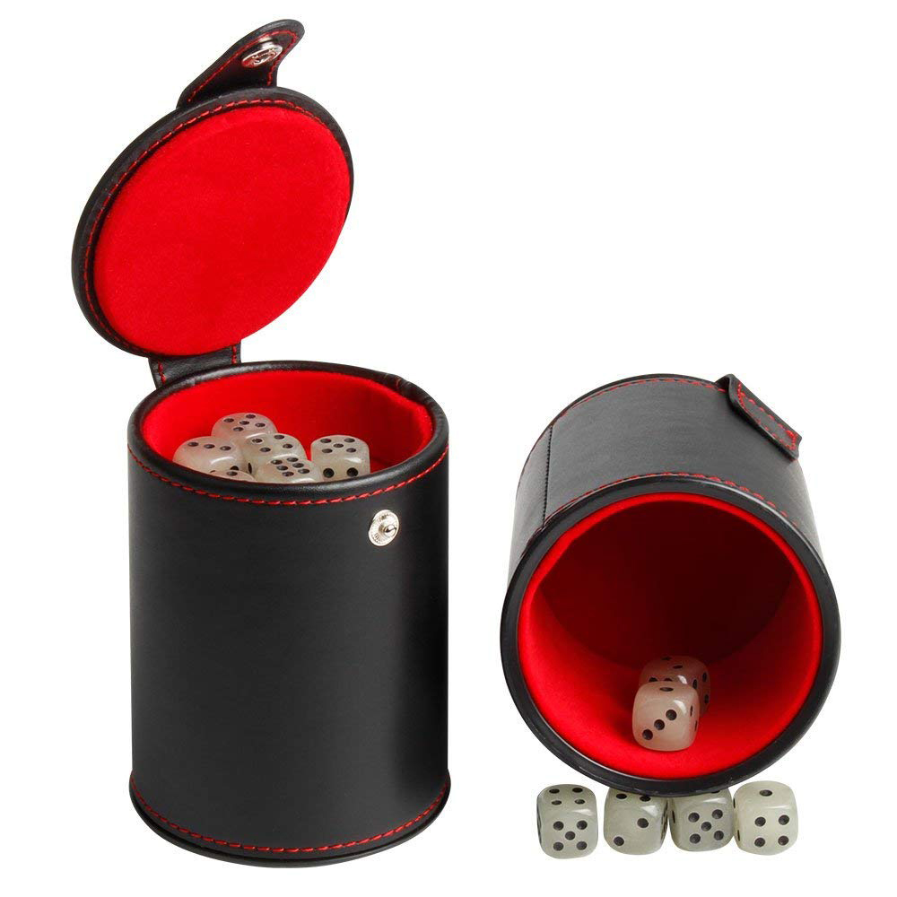 Quality PU Leather Dice Cup Set with 6 Dot Dices Glowing In The Dark, Classic Dice-rolling Game - 4 Pack 12