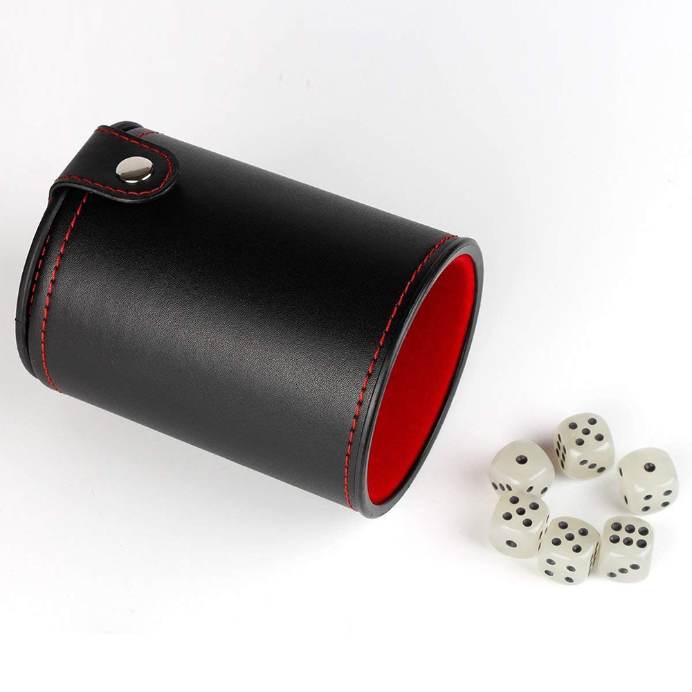 Quality PU Leather Dice Cup Set with 6 Dot Dices Glowing In The Dark, Classic Dice-rolling Game - 4 Pack 6