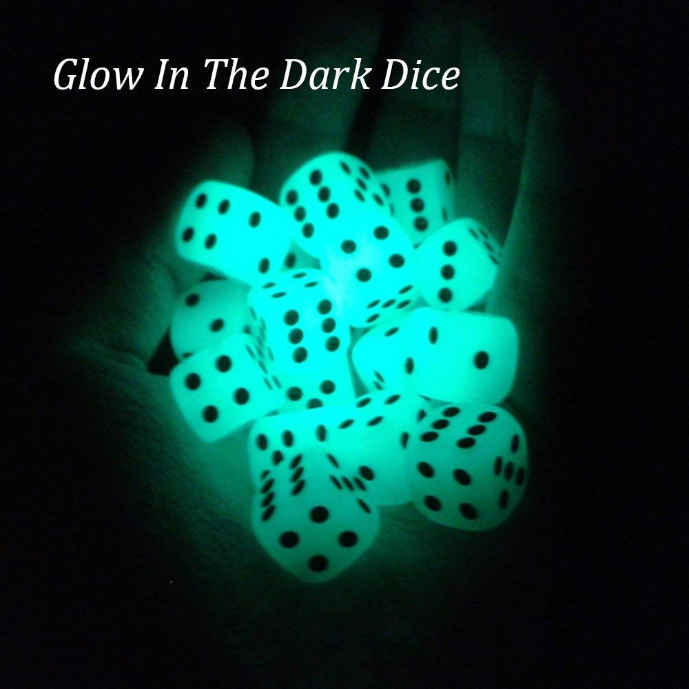 Quality PU Leather Dice Cup Set with 6 Dot Dices Glowing In The Dark, Classic Dice-rolling Game - 4 Pack 7