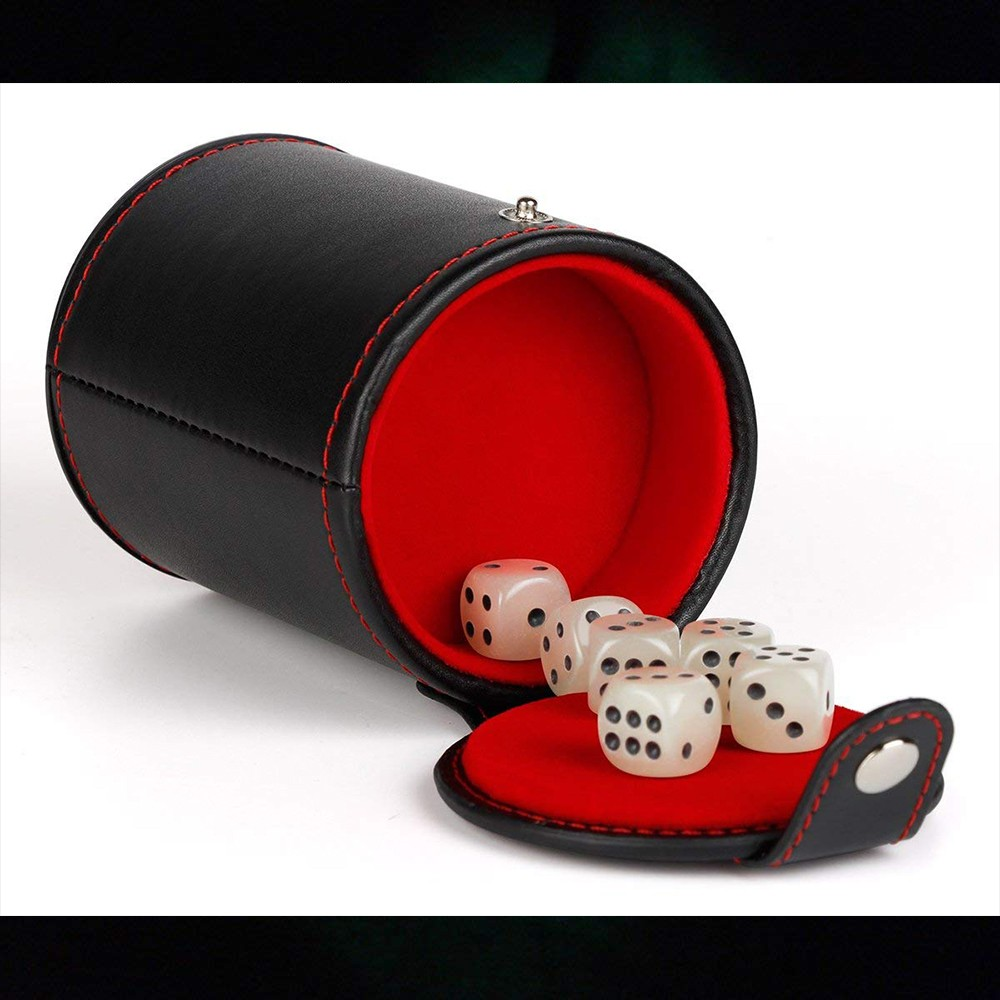 Quality PU Leather Dice Cup Set with 6 Dot Dices Glowing In The Dark, Classic Dice-rolling Game - 4 Pack 9