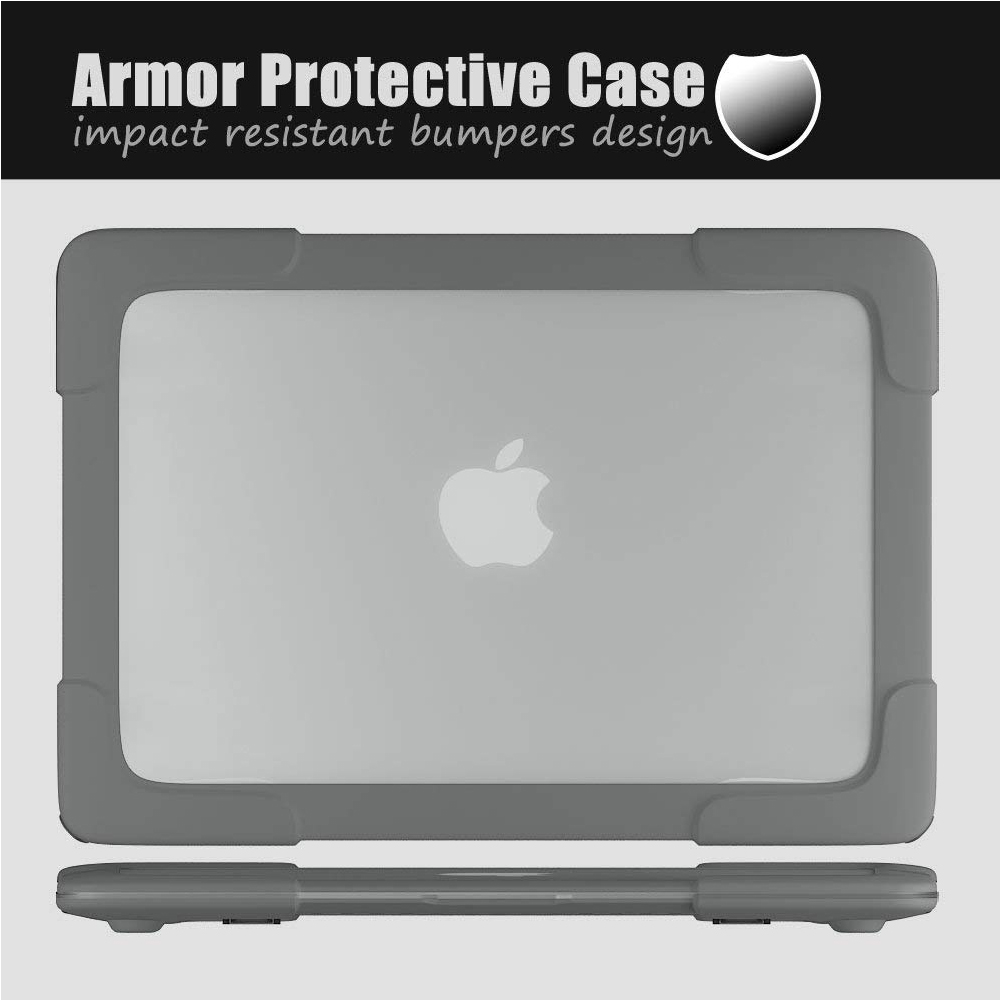 MacBook Pro 13 Inch Case for A1369/ A1466 Shell with TPU+PC Bumper, Heavy duty Matte Cover Case with Stand for MacBook Air 13.3
