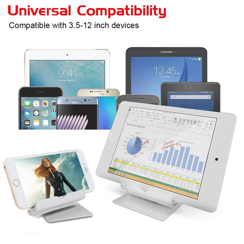 Multi-Angle Aluminum Holder stand, 360 Rotation Fold-up Stand Holder for 3.5-13 inch Tablets, E-readers and Smartphones 6