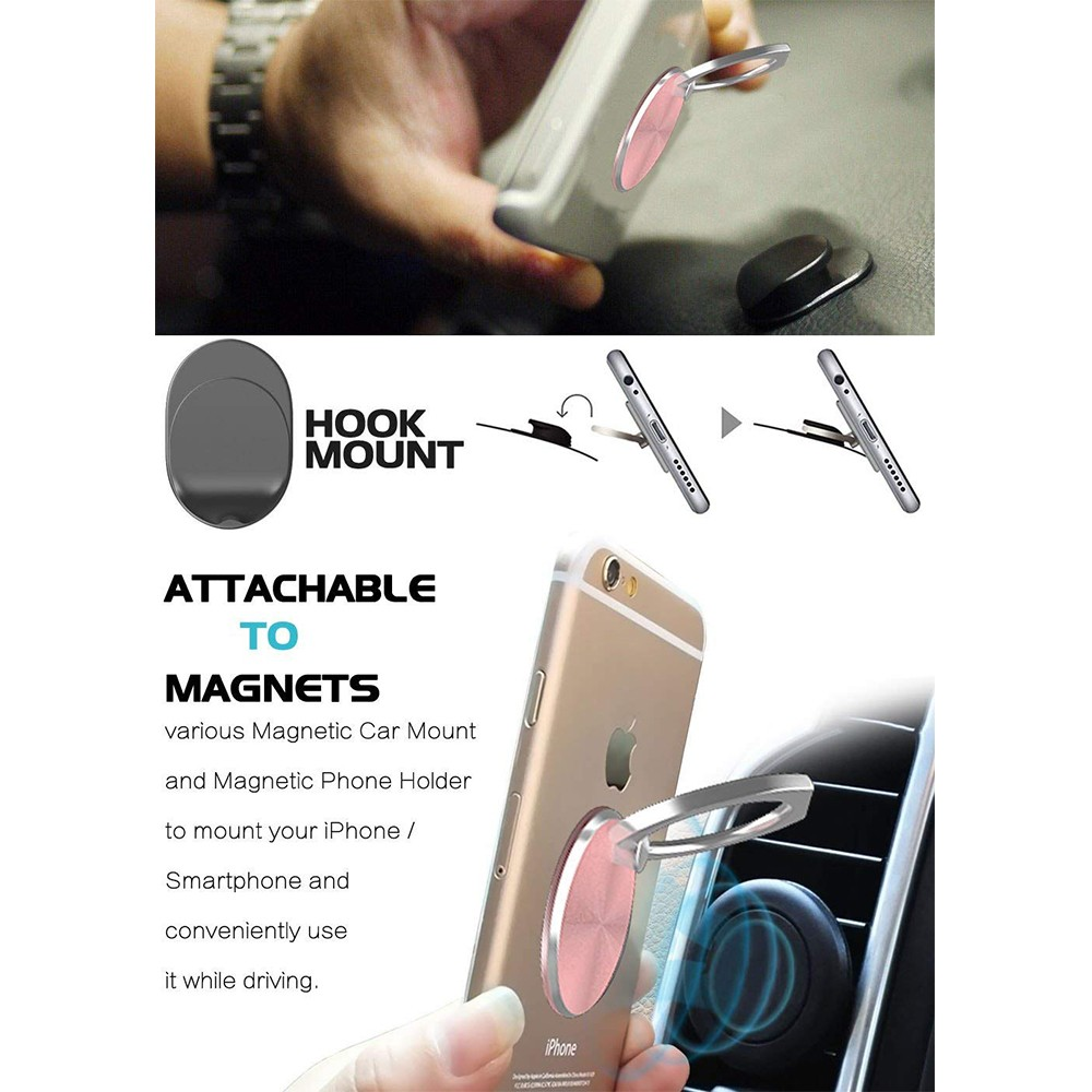 360° Rotation Phone Finger Ring Hook Grip Holder and Car Mount Base for iPhone, Smartphones, Tablets 5