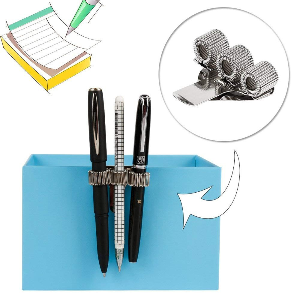 Stainless Steel Pen Holder with Strong Adhesive Clips & Adjustable Spring Loop for Notebook and Clipboard, Fits Almost All Pens Size (9 Packs) 4