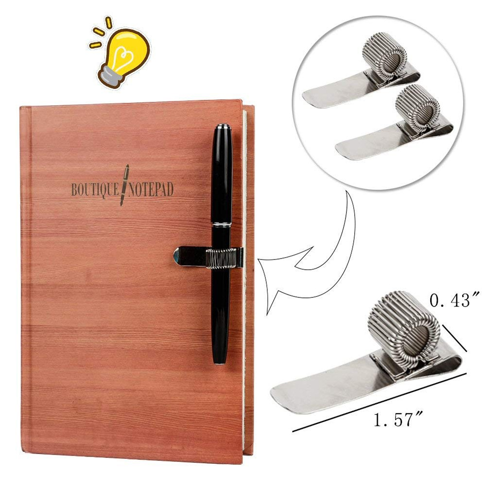 Stainless Steel Pen Holder with Strong Adhesive Clips & Adjustable Spring Loop for Notebook and Clipboard, Fits Almost All Pens Size (9 Packs) 5