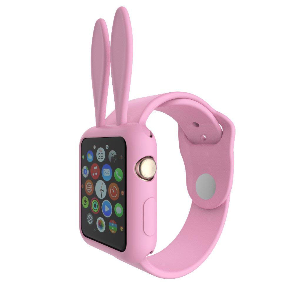 Soft Silicone Apple Watch Protective Cover Case with Cartoon Rabbit Ears for Women [Series 1/2/3, 42 mm] 0