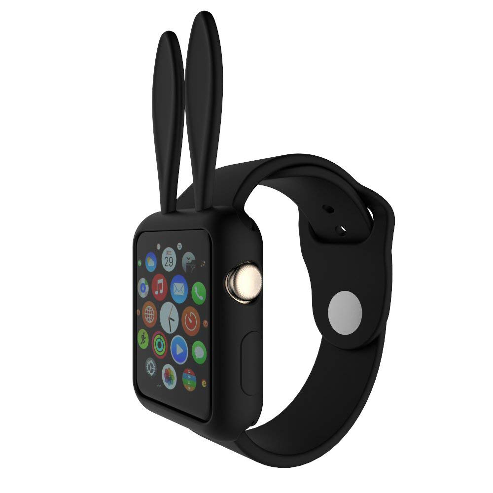 Soft Silicone Apple Watch Protective Cover Case with Cartoon Rabbit Ears for Women [Series 1/2/3, 42 mm] 1