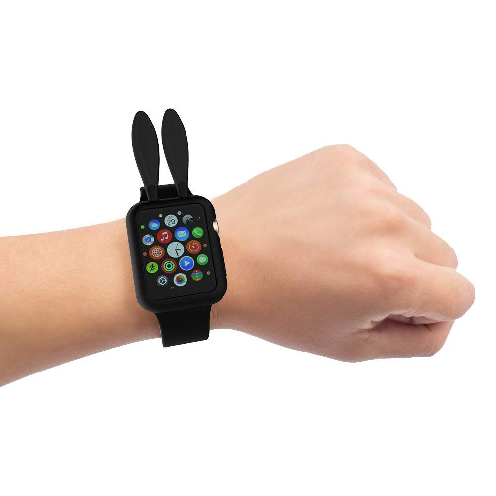 Soft Silicone Apple Watch Protective Cover Case with Cartoon Rabbit Ears for Women [Series 1/2/3, 42 mm] 3