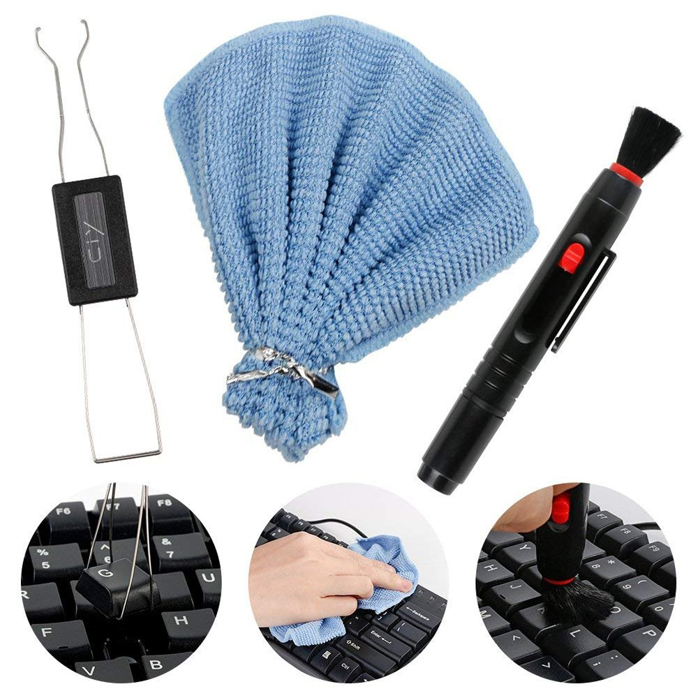 Keyboard Fixing & Cleaning Tools Accessories, Combination of Handkerchief + Rubber Brush + Keycap Puller Adjuster for Mechanical Keyboard 1