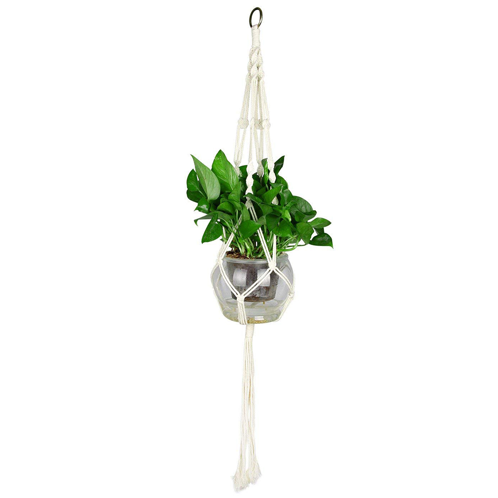 Macrame Plant Hanger for Indoor Outdoor Decoration, Handmade Cotton Rope Flower Pot Plant Hanger with Metal Hoop 4