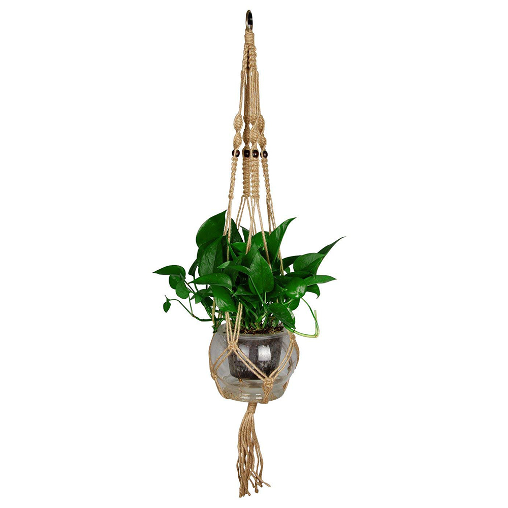 Macrame Plant Hanger for Indoor Outdoor Decoration, Handmade Cotton Rope Flower Pot Plant Hanger with Metal Hoop 8