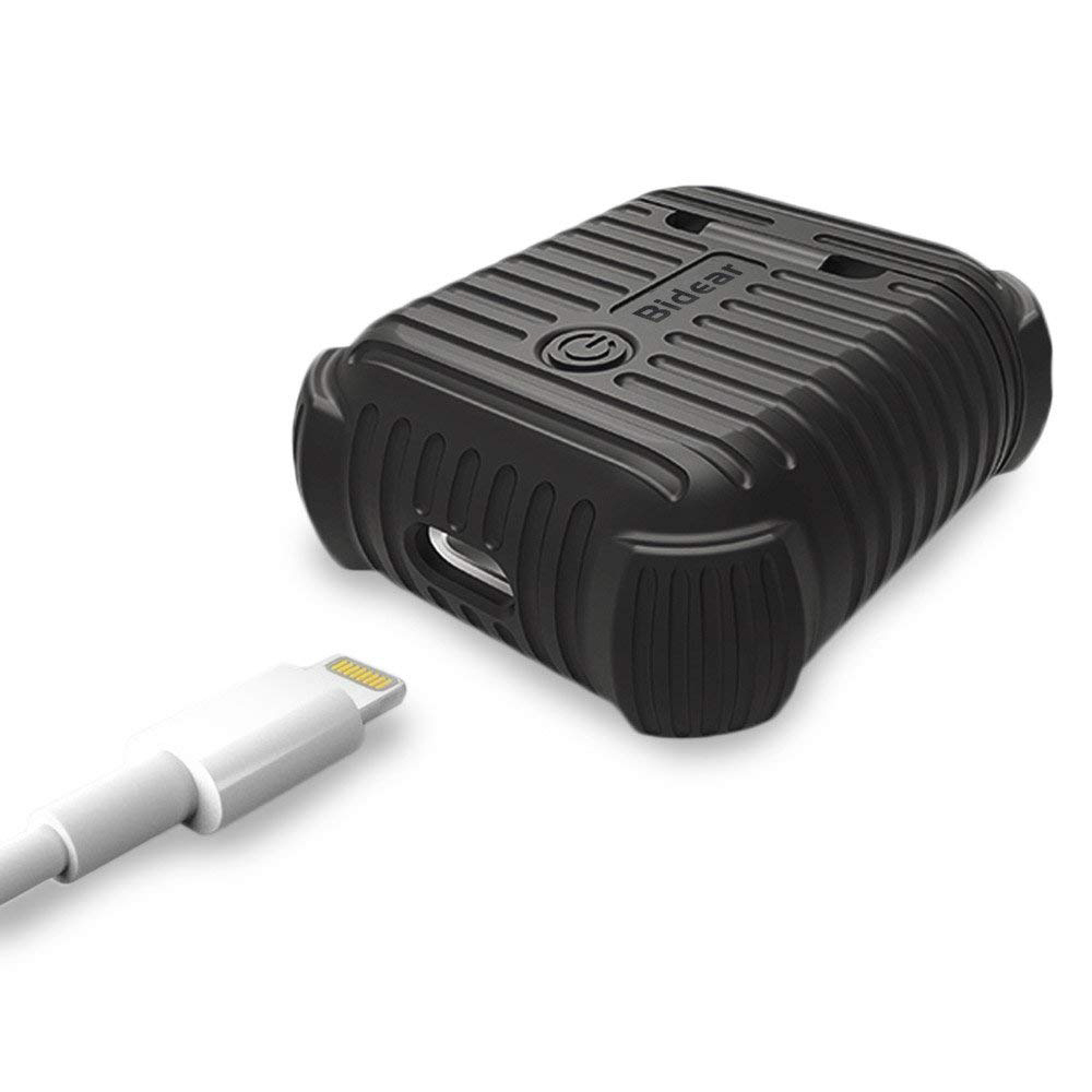Airpods Charging Case with Anti-Lost Strap and Keychain, Waterproof Protective Silicone Shockproof Case for Apple Airpods 1