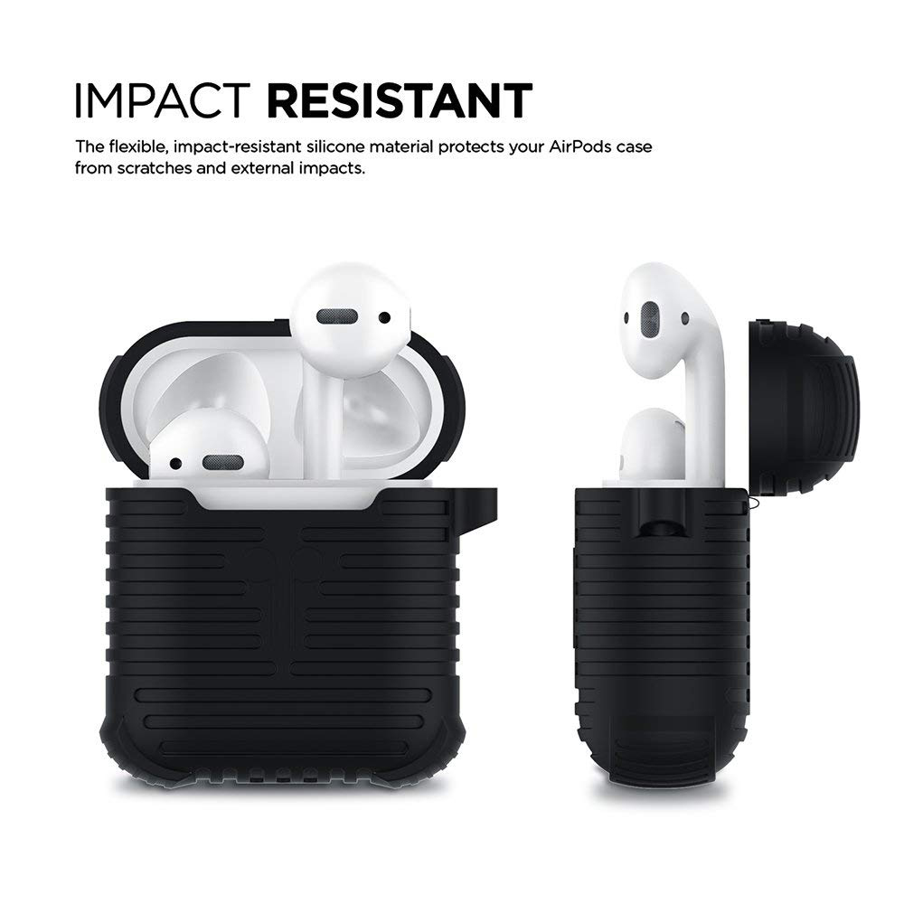 Airpods Charging Case with Anti-Lost Strap and Keychain, Waterproof Protective Silicone Shockproof Case for Apple Airpods 4
