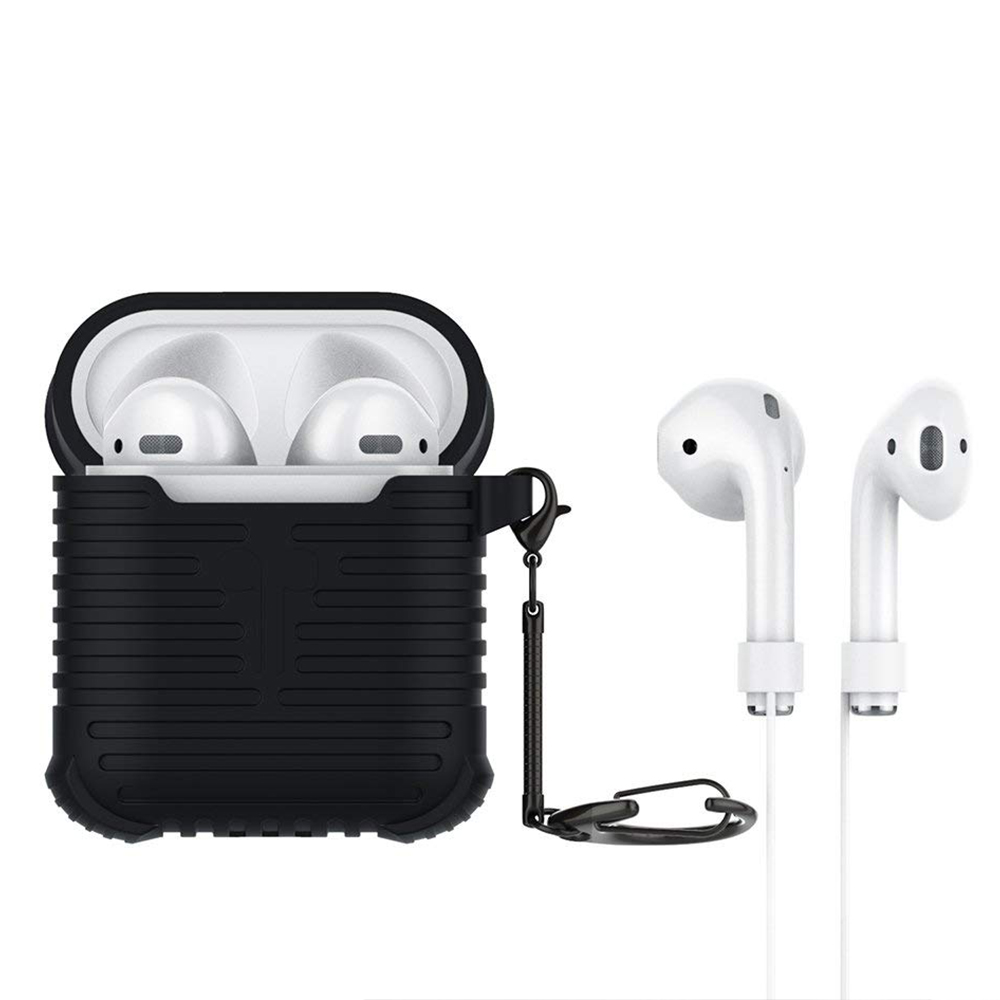 Airpods Charging Case with Anti-Lost Strap and Keychain, Waterproof Protective Silicone Shockproof Case for Apple Airpods 2