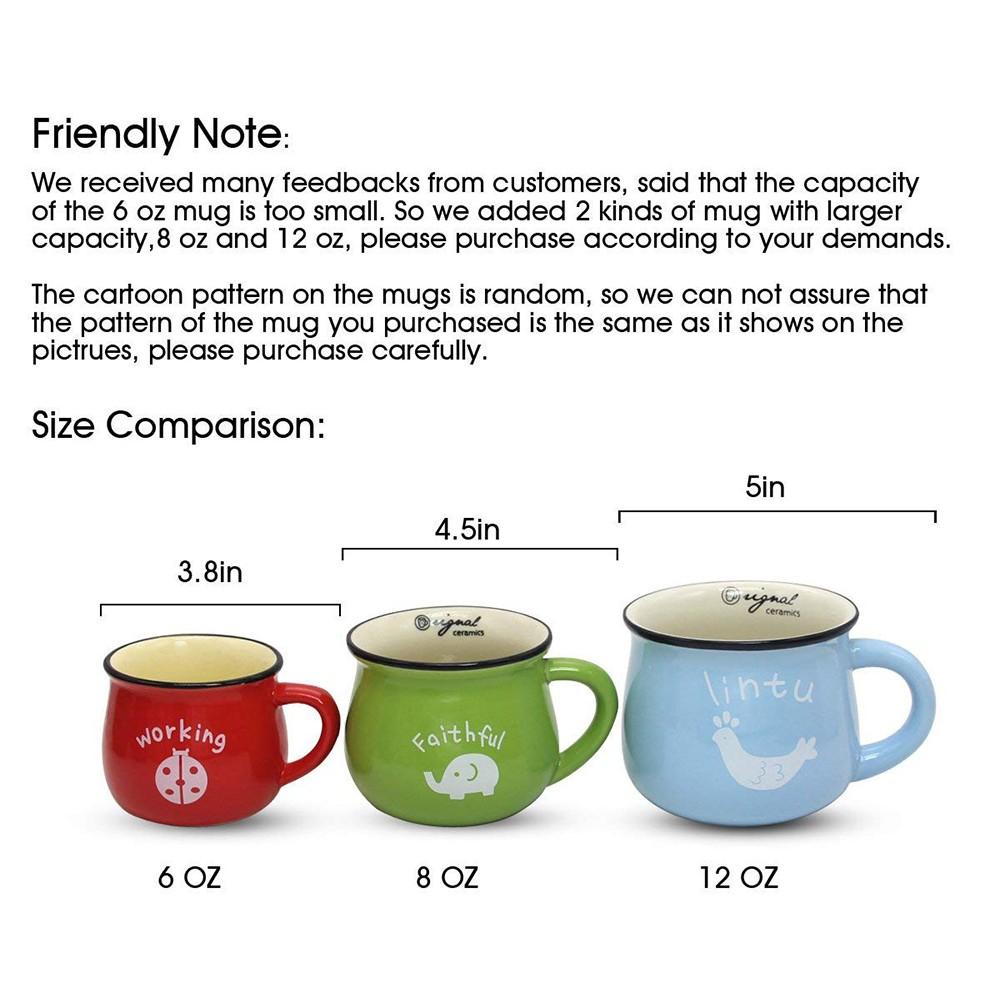 6 / 8 / 12 oz Ceramic Coffee Mug, Cute Lovely Cartoon Tea Mug, Milk Mug, Kids Cups 16