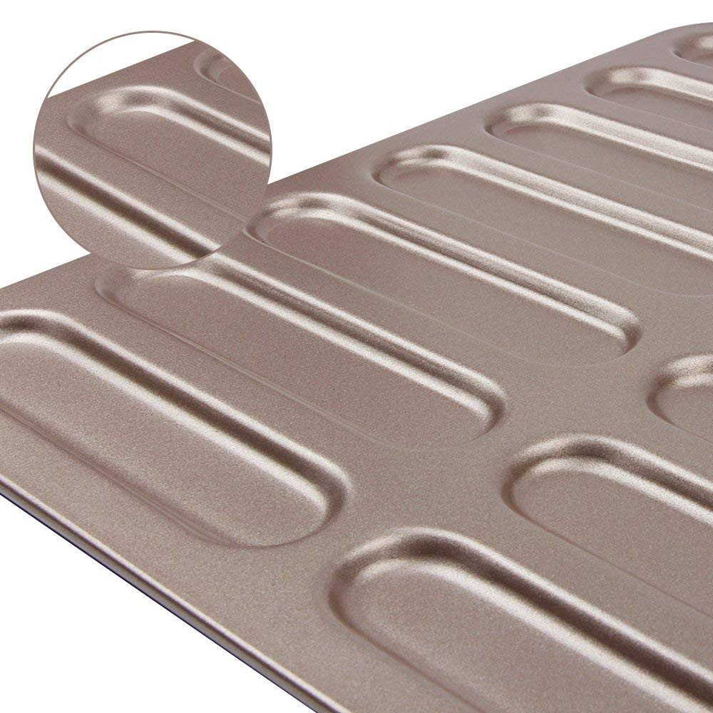 Non Stick Eclair Baking Pan with 14 Cups,Healthy Carbon Steel Hot Dog Bun Bread Pan Size 12.8 1