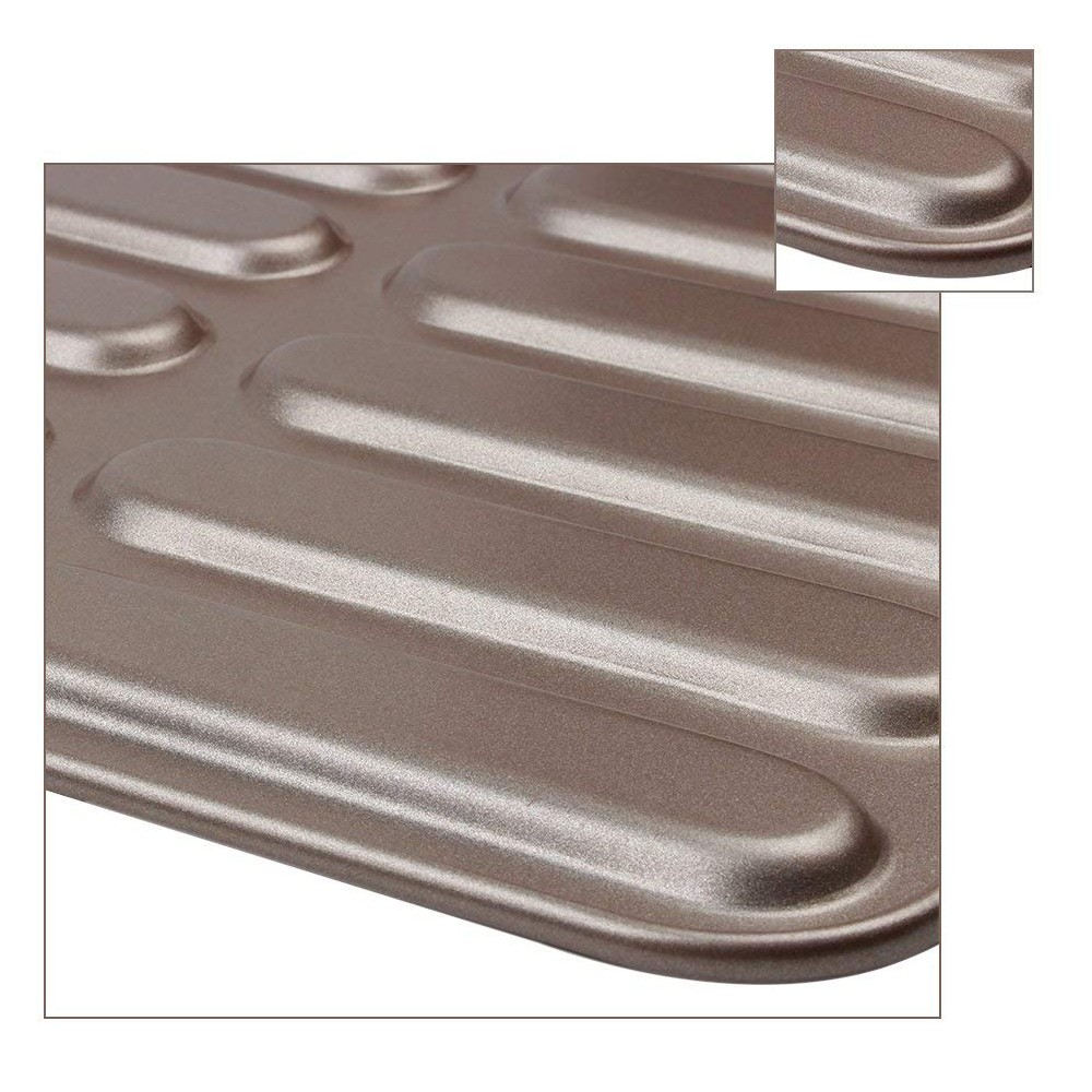 Non Stick Eclair Baking Pan with 14 Cups,Healthy Carbon Steel Hot Dog Bun Bread Pan Size 12.8 4