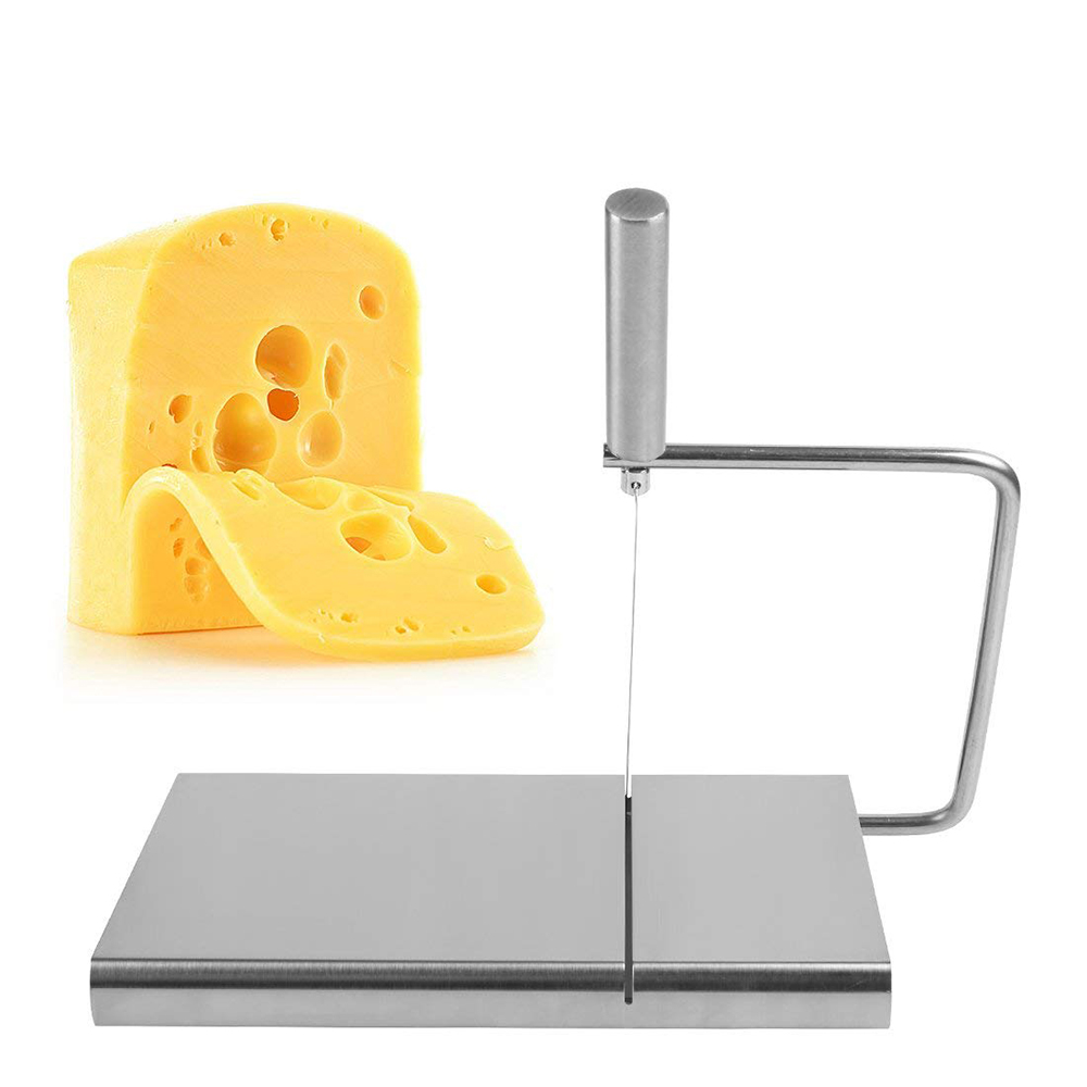 Stainless Steel Wire Butter Cutter Cheese Slicer With Serving Board - Kitchen Accessories 0