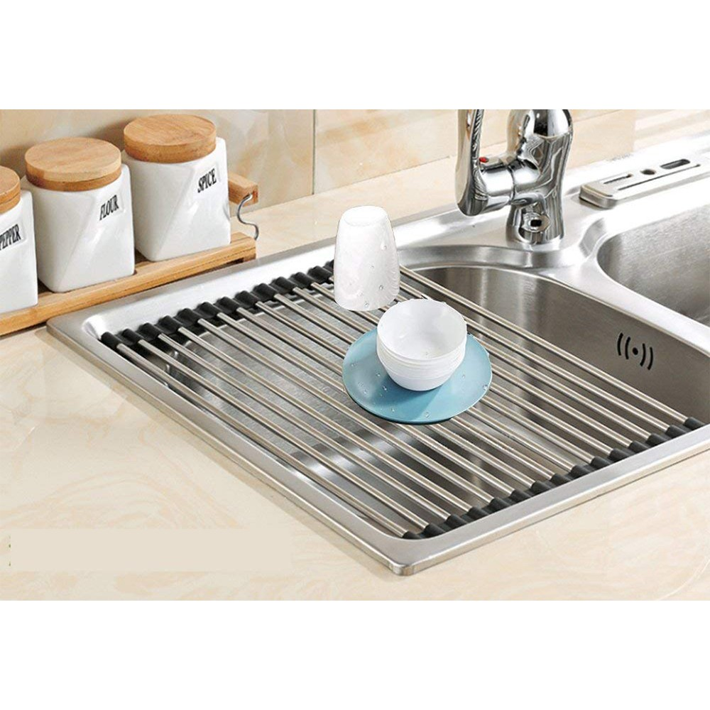 Over the Sink Dish Drainer Rack, Stainless Steel Roll-Up Sink Rack for Drying Vegetables and Fruit, mugs, plate 1